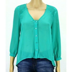 Anthropologie Pins & Needles Women Top Blouse Gree